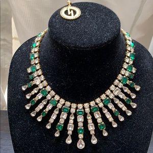 DYLANLEX D/C'ed emerald green/crystal necklace